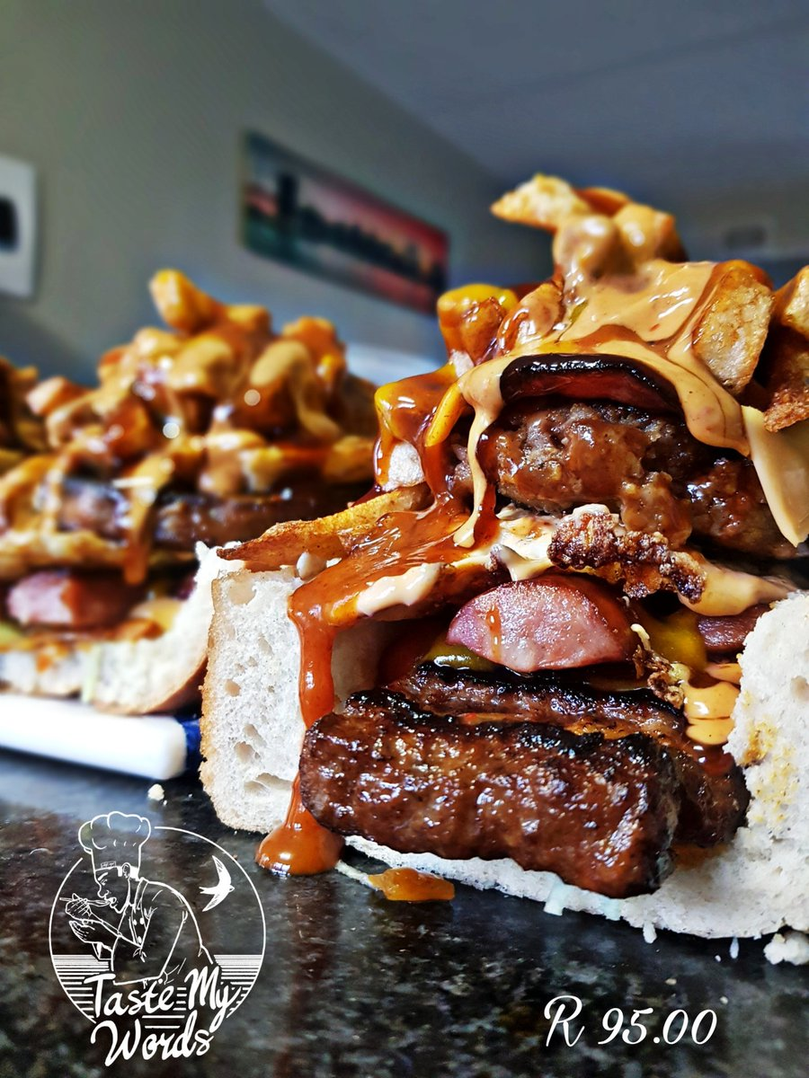 • Handy man tagged @ R95 you get Lettuce Atchar/Chakalaka Marinated Rib burger Cheese Smoked viena Smoked Russian Bacon Egg 100% Beef Pattie Ham Cheese Triple step fries #Only 4 Available 😬 introducing our Second Born to the world 🌍