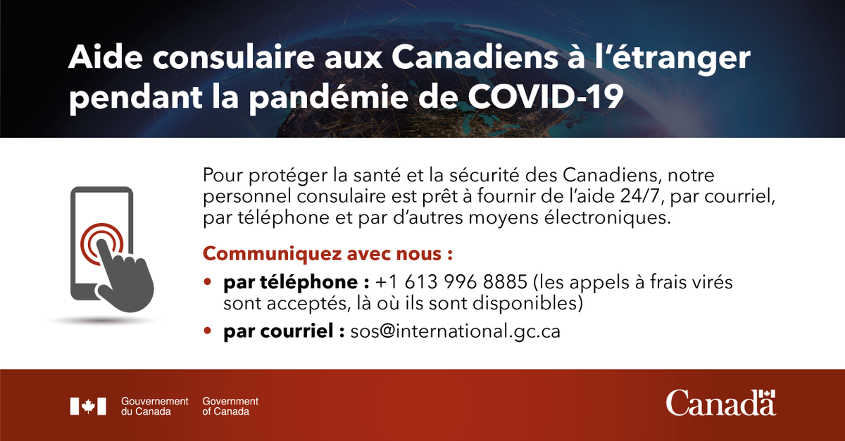 Vous êtes à l'étranger et avez besoin d'aide d'urgence? Communiquez avec notre bureau le plus proche ou contactez-nous 24/7 :     📞+ 1 613 996 8885   💻 sos@international.gc.ca       https://t.co/yF6FuxD5fx #SaisonDesOuragans #COVID19 https://t.co/xVdLNLd96S