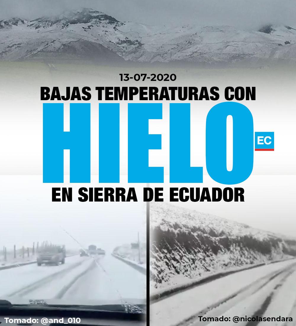 #ATENCIÓN   Manto de hielo cubre carreteras y varios sectores de la Sierra de Ecuador. El Inamhi habla de alteración atmosférica en el callejón interandino » https://bit.ly/NiveTmprturaspic.twitter.com/5b5GcRHPRy