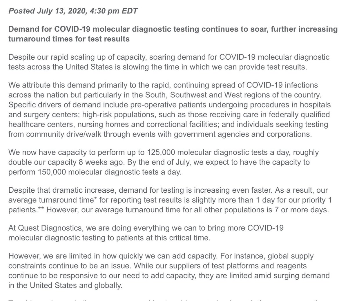 Quest Diagnostics says its average turnaround time for #COVID19 tests is now 7 or more days for non priority 1 patients https://t.co/zijoGqEeFk