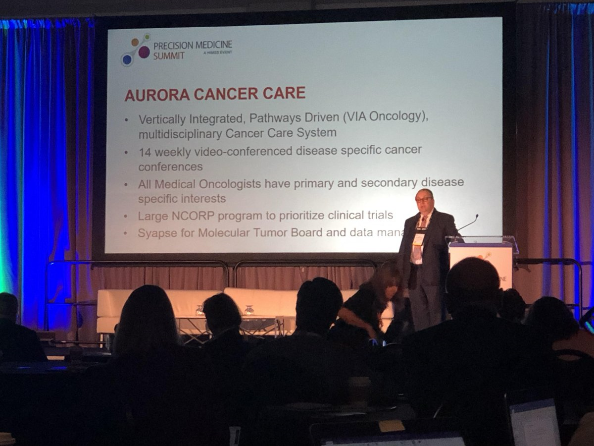 """MT @syapse At the #PrecisionMedicine Summit at #HIMSS19, Jim Weese, MD, discussed """"Determining Value of a Precision Medicine Program"""" and how @Aurora_Cancer partners with Syapse to increase access to precision medicine. #PrecisionHIT @HIMSS @AdvocateAurora @Aurora_Healthpic.twitter.com/ojm0wZAhJR"""