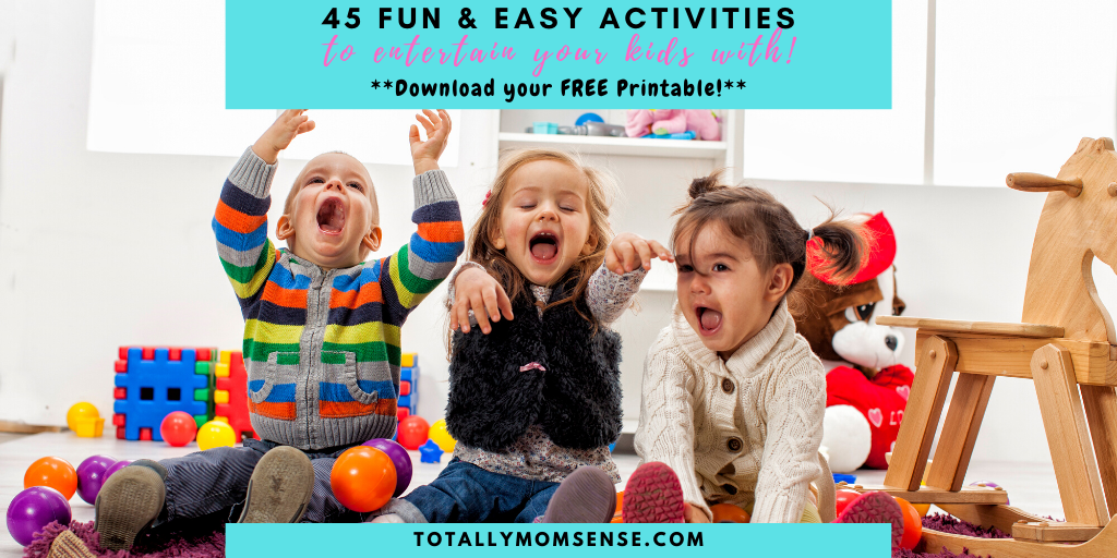 Have you run out of ideas to keep your little ones engaged at home? Instead of them getting bored at home, grab this list of 45 amazing & fun activities that your kids will love. totallymomsense.com/45_activities_… #kidactivity #activitiesforkids #playandlearn
