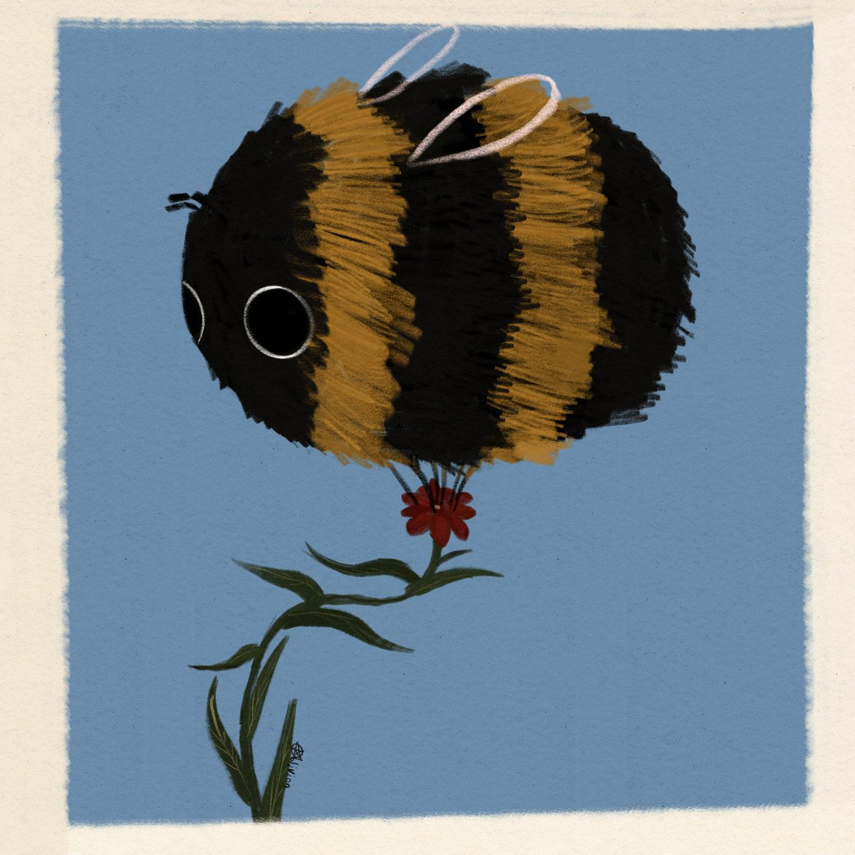 I'm no longer a horror artist. I only want to paint fat bees now.