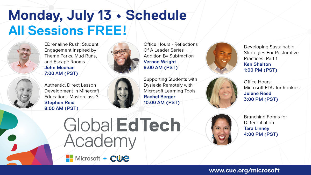 Let's kick Monday off with a bang! Join these great sessions! #WeAreCUE @MicrosoftEDU #GETA cue.org/microsoft