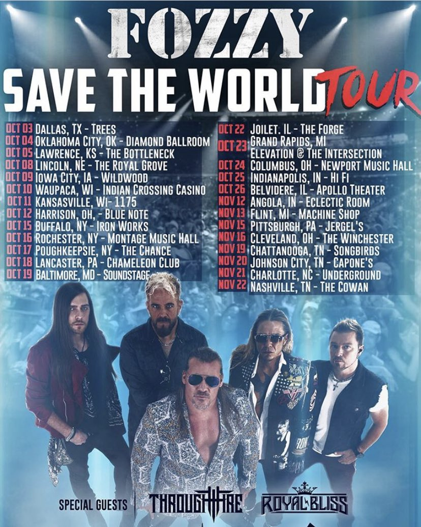 Well I know how to celebrate my birthday weekend. By rocking with @FOZZYROCK @IAmJericho @thedukeofmetal. My birthday October 16th and we'll be rocking the 19th