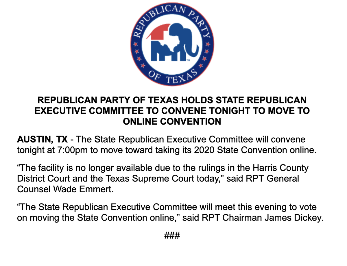 The @TexasGOP issues notice it's moving toward taking its state convention online, given the rulings from Harris County District Court and the Texas Supreme Court regarding the Houston facility. https://t.co/9pezZZXecb