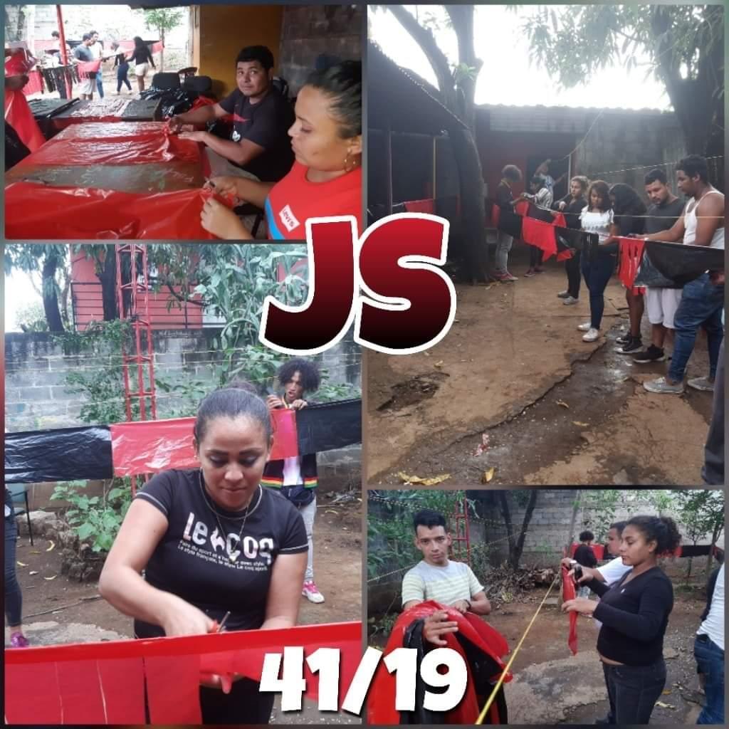 Activada la juventud sandinista, preparando los banderines para adornar las calles.  #JulioVictoriososSiempre https://t.co/cZhL0VKxdX