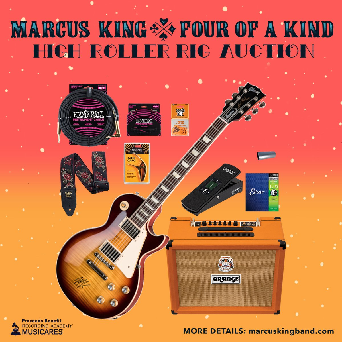 Thanks to the AMAZING Sponsors we are auctioning two INCREDIBLE LIMITED Rig Packages with items from @orangeamps @gibsonguitar, @fender, @ErnieBall, @moodyleather, and @elixirstrings to benefit @musicares!  Details here: https://MK.lnk.to/auction pic.twitter.com/HTjwO1aQK9