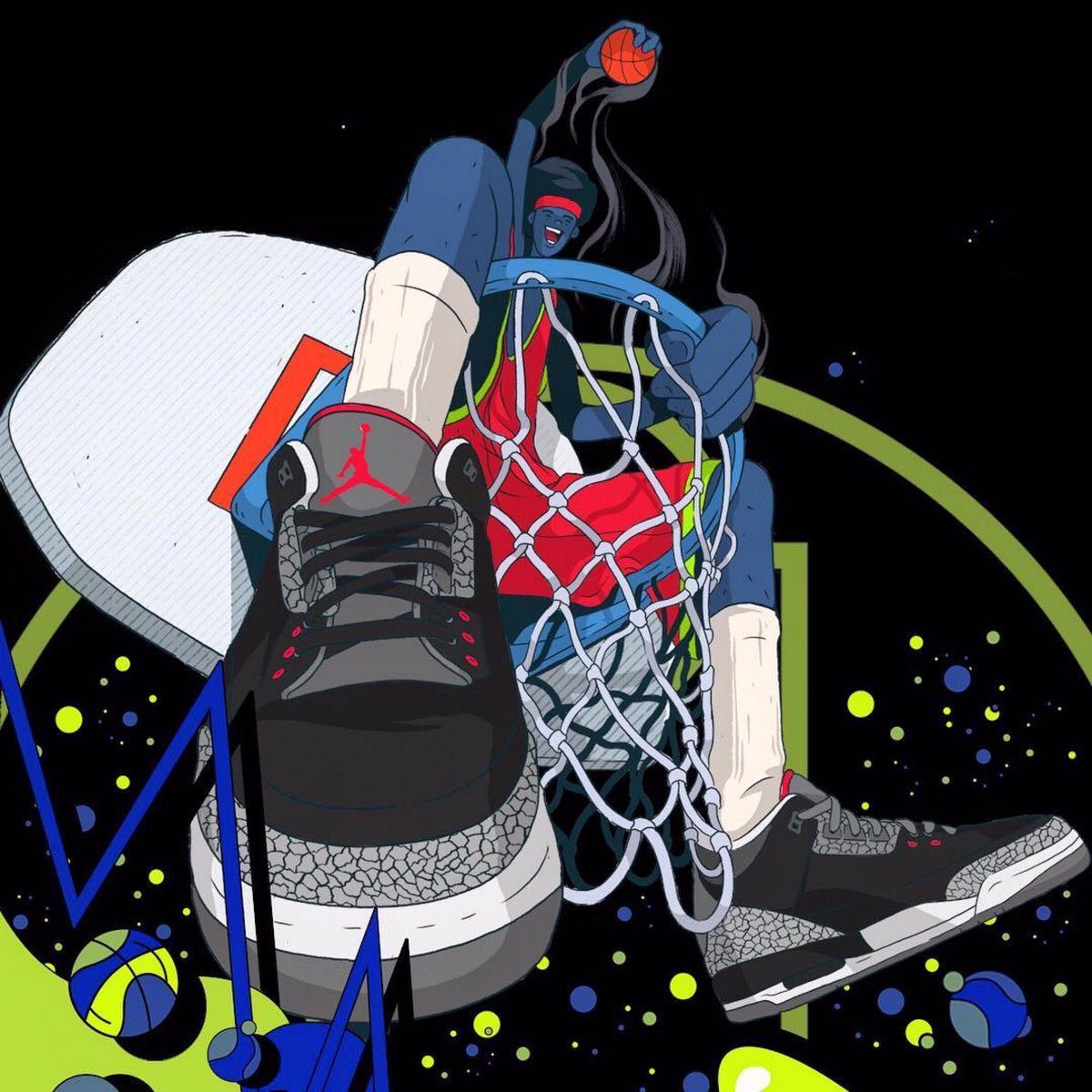 Black cement goes with everything. Illustration by @ilovedust ・・・ JUMPMAN JUMPMAN JUMPMAN  #mjmondays #jordan #jordan1 #illustration #ilovedust #michaeljordan #ball #characterdesign #jordan3 #jumpman #thatniquelife #hoopculture #ballislife https://t.co/hfAb06at0c