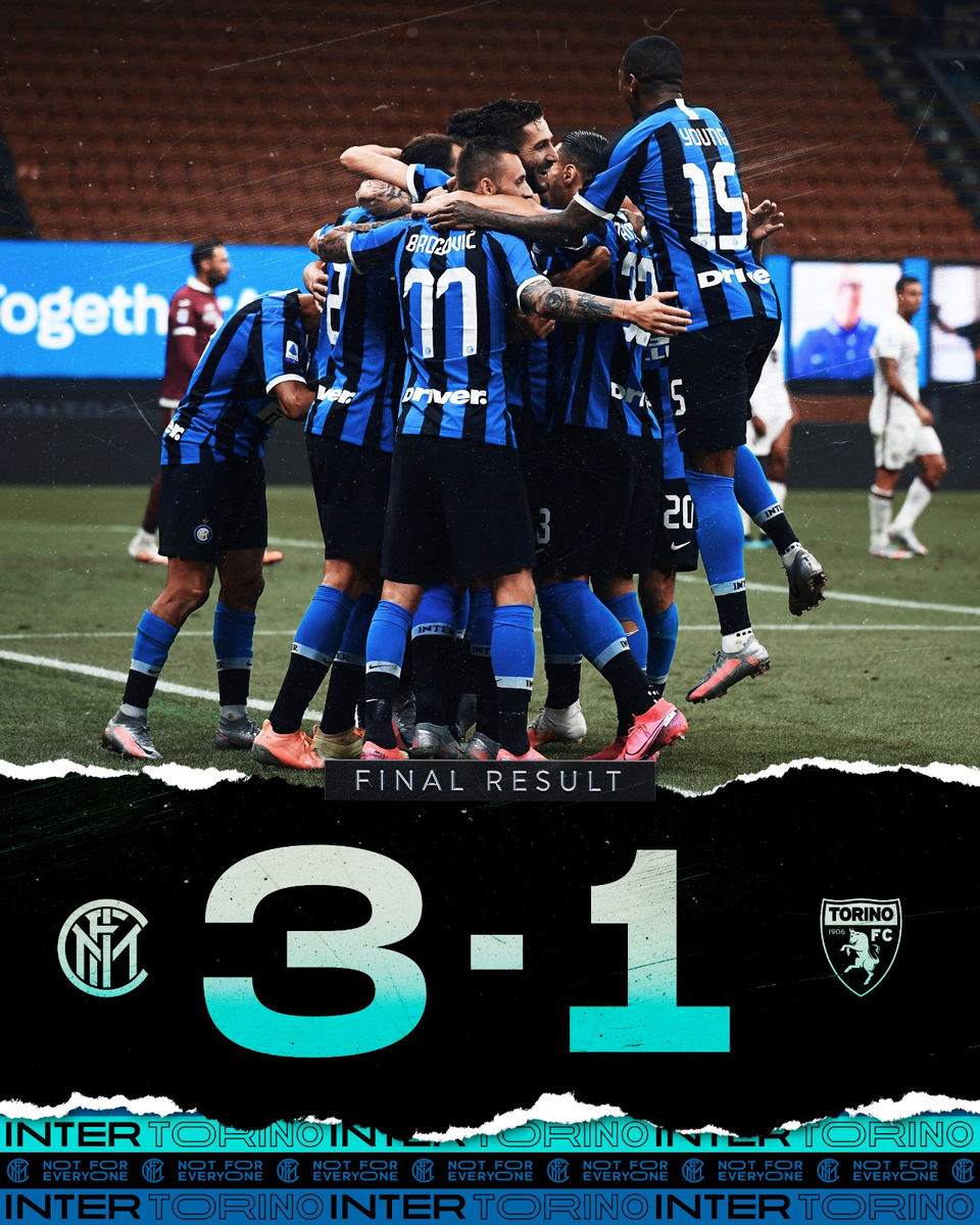 Full Time - Inter Milan 3 - 1 Torino - Italy - Serie A, July 13, 2020