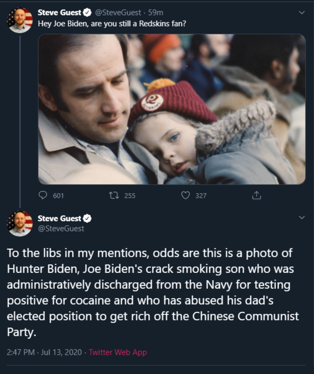 Fred Wellman On Twitter Disgusting There S Nothing Kind To Say About Steveguest This Photo Was Taken A Year Or Two After Joe Biden S Wife And Daughter Were Killed In A Car Accident