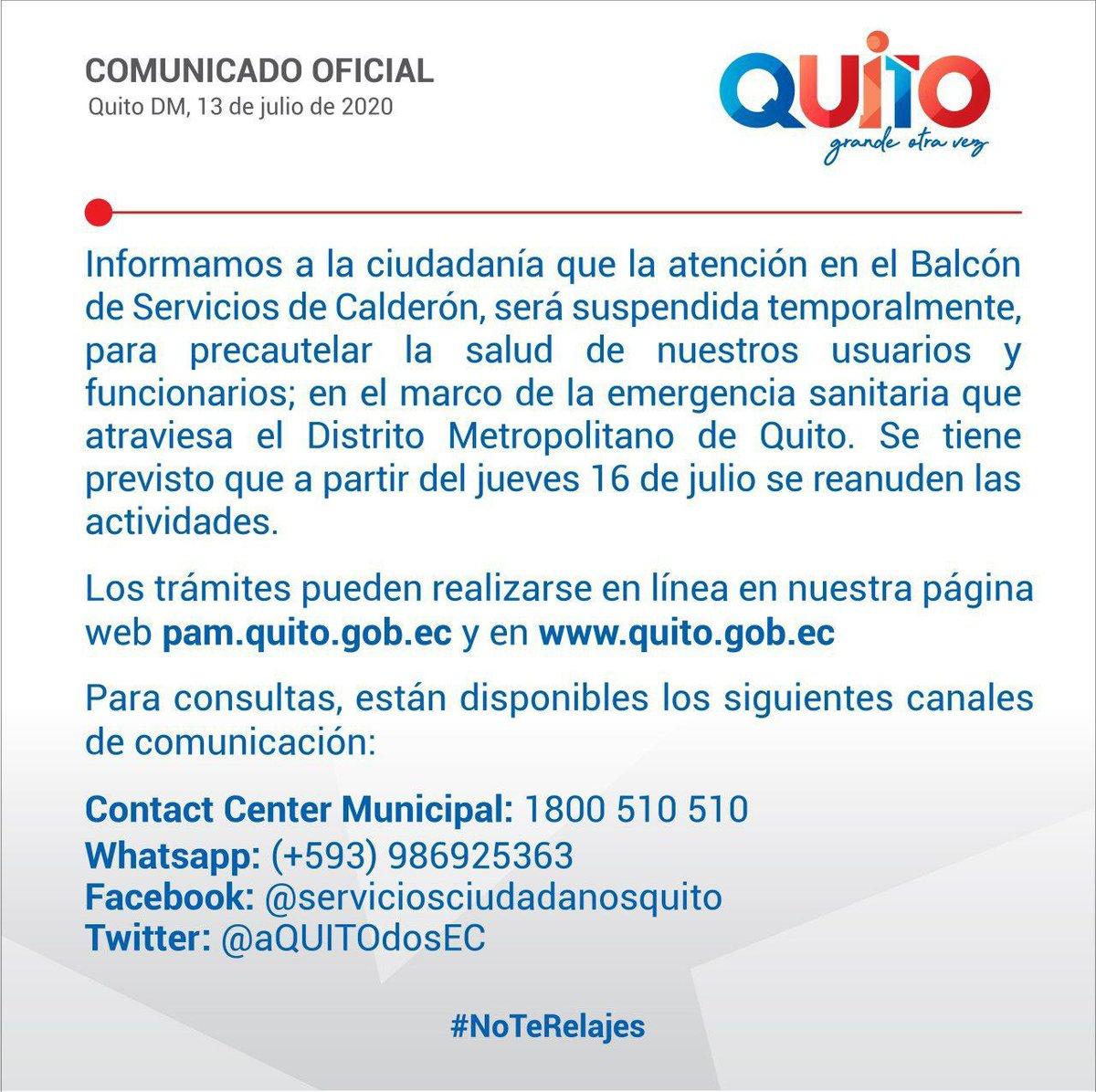 COMUNICADO | La atención en el Balcón de Servicios de la Administración Zonal Calderón se suspende temporalmente debido a la emergencia sanitaria que atraviesa la ciudad. Realice sus trámites en línea ➡️ https://t.co/SXsDCDpKBB #QuitoÁgilOtraVez https://t.co/Am2398CFkF