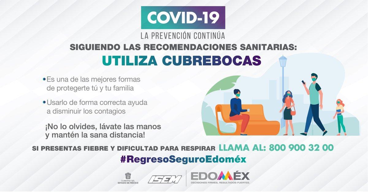 La prevención continúa, para un #RegresoSeguroEdoméx utiliza cubrebocas al salir de casa. https://t.co/QHGzRNmH82