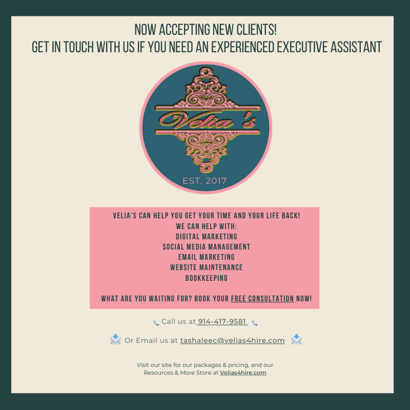 Velia's is accepting new clients!  Book your FREE consultation here on this link https://buff.ly/37u91sQ  #velias4hire  #LetsCollaborate #acceptingnewclients #womanownedbusiness #businesswoman #businesslife #success #business #smm #seekingclientspic.twitter.com/zyF4YvD5RJ
