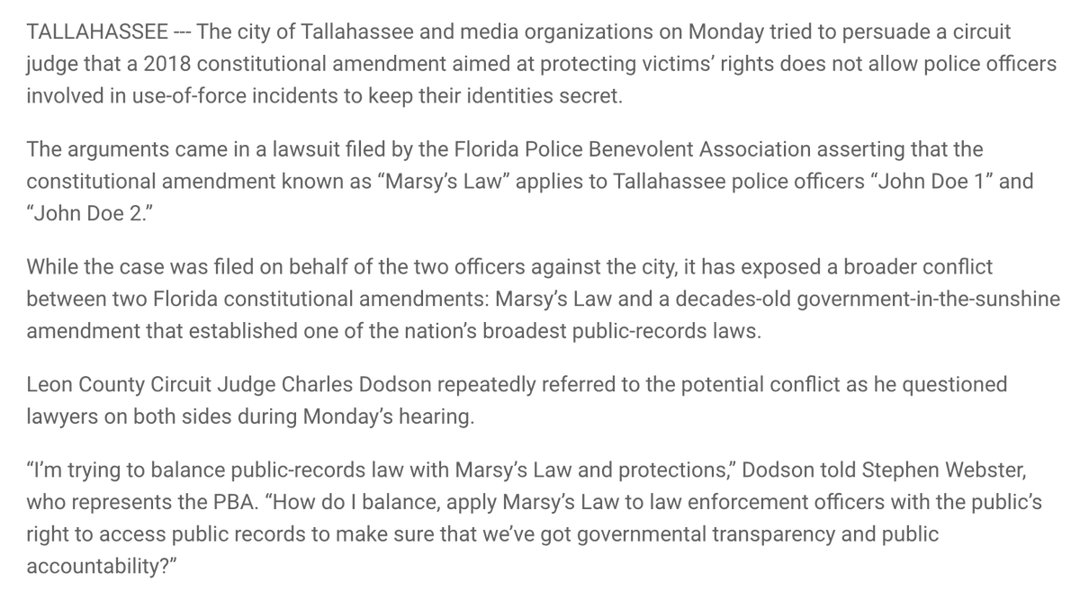 """Police in Tallahassee are using Florida's Marsy's Law -- passed in 2018 -- to block names of officers in a use of force incident from being released. Because involved officers are treated as """"victims"""" of a crime.  Which is exactly what observers expected would happen. https://t.co/Tdi8JhGU5w"""