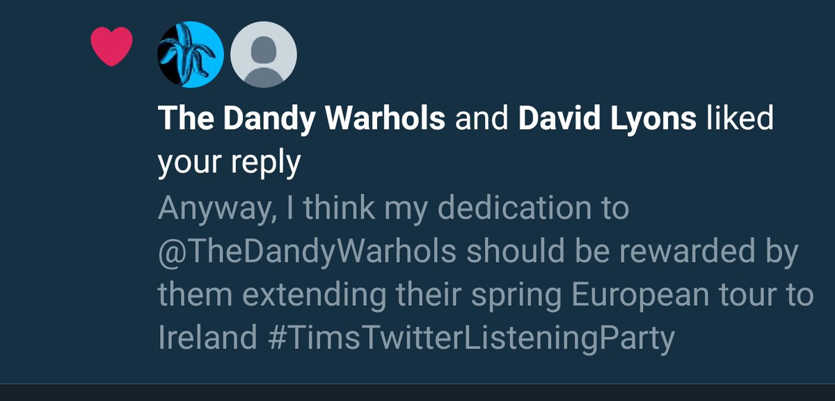 I am taking this like as a binding agreement to do so, @TheDandyWarhols . Book 'em, @seodashows #TimsTwitterListeningParty pic.twitter.com/PjLoe57OrW