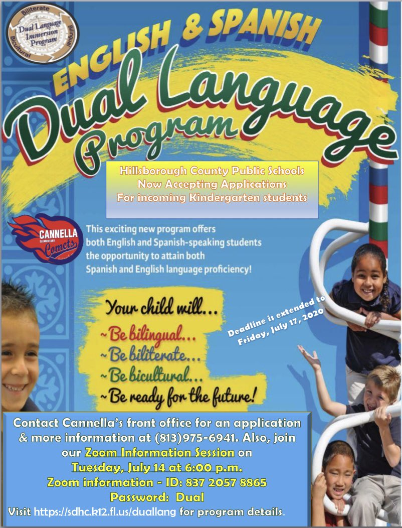 Just a reminder! We are hosting a ZOOM for our Dual Language program for upcoming Kindergarteners on Tuesday 7/14 at 6pm! Join us as we share information about our program!         #duallanguage #comets #hcps #area2pic.twitter.com/JYkep7GQwQ