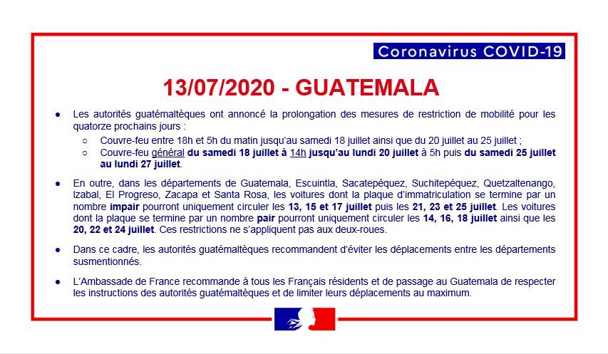 #Covid19 | Avis aux Français résidents et de passage au Guatemala 🇫🇷 - Mesures en vigueur au Guatemala pour les 14 prochains jours 🇬🇹 https://t.co/Rl7rzknkrL
