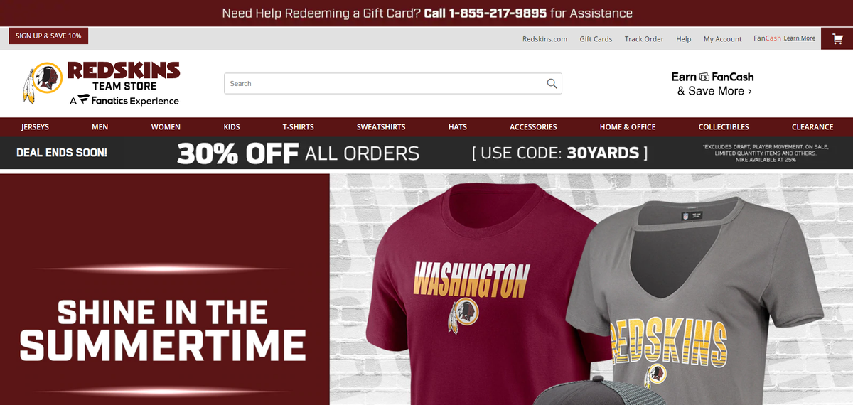 Gear under the old Washington football team name was 20% off this morning. It's 30% off now. But many activists say it's racist to even wear it. Especially now. @wusa9 https://t.co/UHqldbq3gb