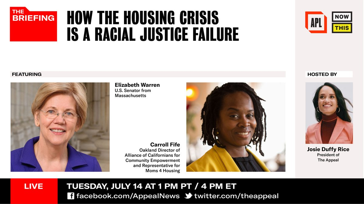 I hope you'll tune in at 4 PM ET for this important discussion on the housing crisis in our country.