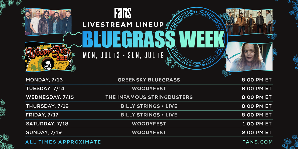 #THISWEEK! Tune in for nonstop #bluegrass on @FansBelongHere starting #tonight w/ @campgreensky, @stringdusters, @BillyStrings, and 3-nights of @WoodyFest 🎶 RSVP now and learn more at https://t.co/CrZCJ6lSEY https://t.co/ET7cKV85iv