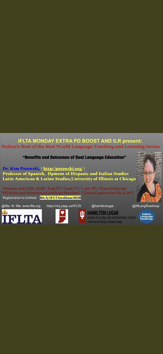 What an inspiring, intriguing and informative webinar it was by Dr. Kim Potowski. She was very passionate and we could feel that from the screen. More than 200 global teachers joined us from the world. Thank you @IFLTA @INLangRoadmap @israelfernandoh #duallanguage #trilingualismpic.twitter.com/tMRHrJWkLF