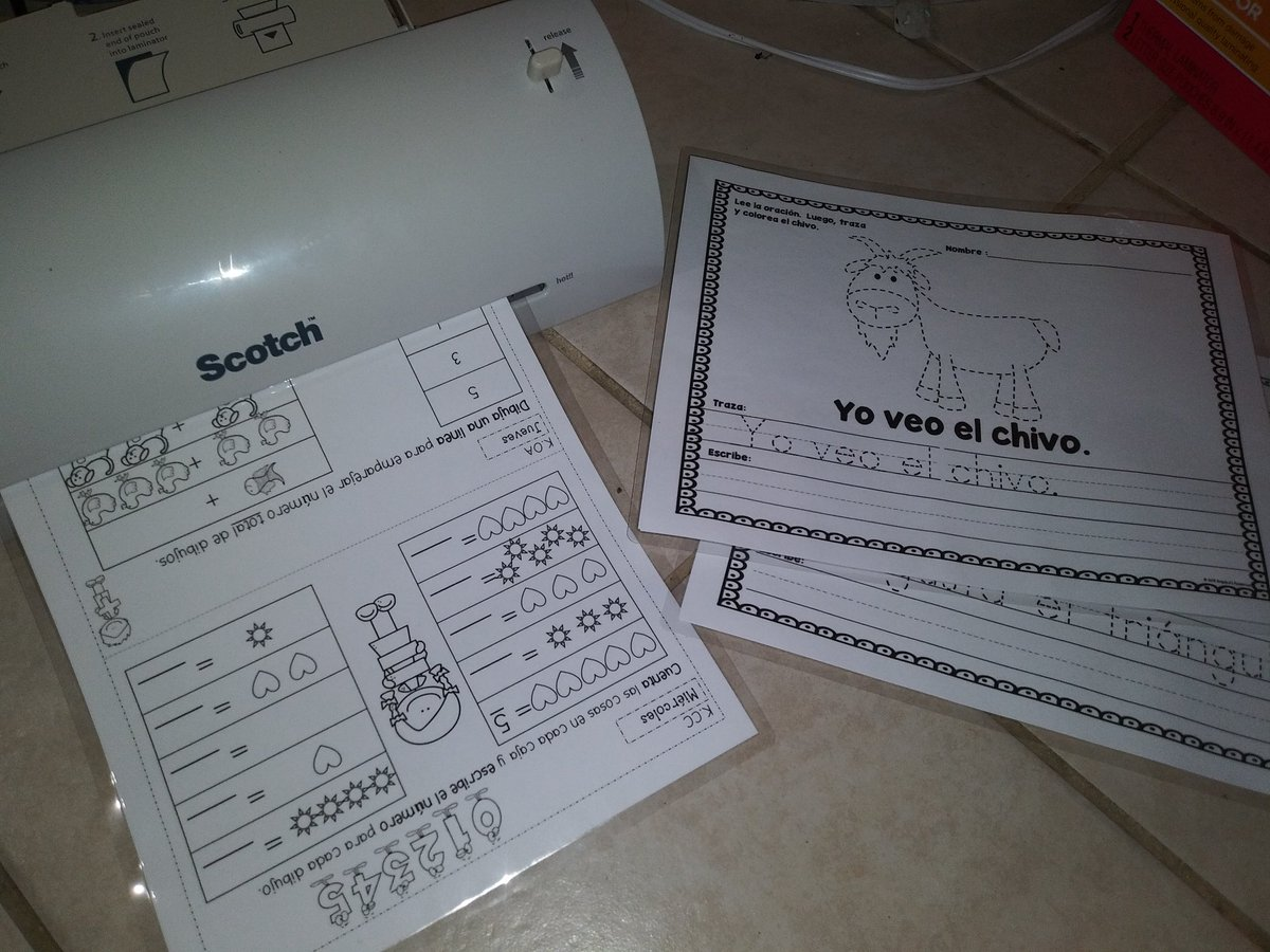 Best purchase ever! Laminating Spanish worksheets for the kids #Scotch #DualLanguage #SummerLearningpic.twitter.com/WfzFT2YECr