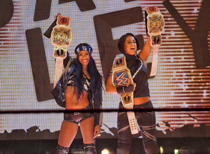 3 pic. The greatest tag team of all time, in the history of all time!! #sasha3shows #2beltzbanks #LegitBoss