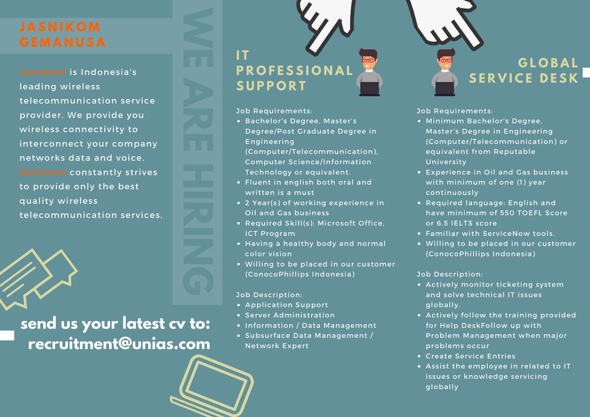 Itb Career Center على تويتر Job Vacancy Pt Jasnikom Gemanusa Is Hiring For Global Service Desk And It Professional Support For Information Https T Co Ouja1iaz30 Deadline 6 Aug 20 Itbcc Kariritb Itbcareer Https T Co Bapq8cqvnl