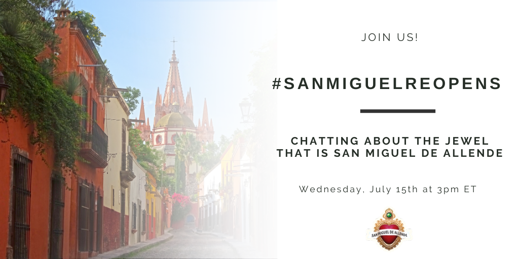 Whos ready to TRAVEL? Join us this Wednesday at 3PM ET to chat all about @Turismo_SMA as it reopens, & learn what makes this beautiful colonial city the jewel that it is, and one of Travel +Leisure & Conde Nast Travelers' top cities in the world! #SanMiguelReOpens