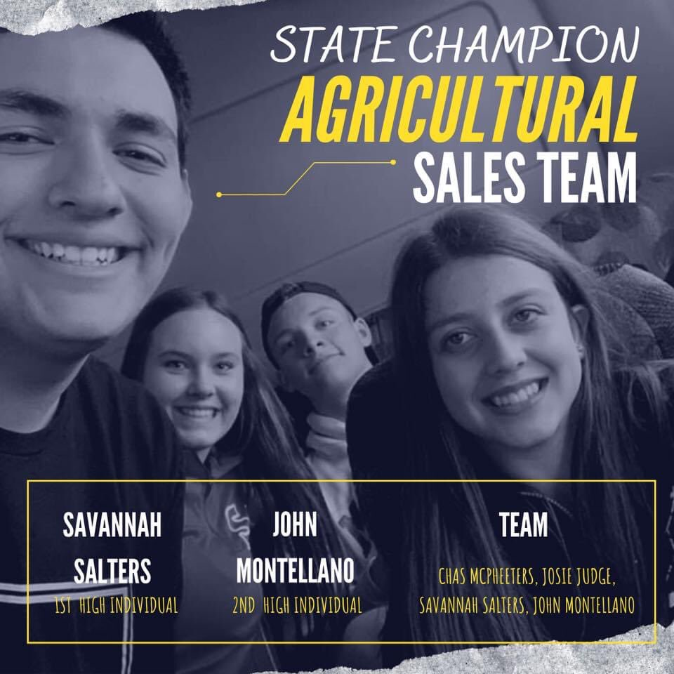 Congratulations to our State Champion Agricultural Sales Team! Chas McPheeters, Josie Judge, John Montellano (2nd High Individual), Savannah Salters (1st High Individual) & Coach Linda McPheeters. You make us proud! pic.twitter.com/AA54TsZYY1