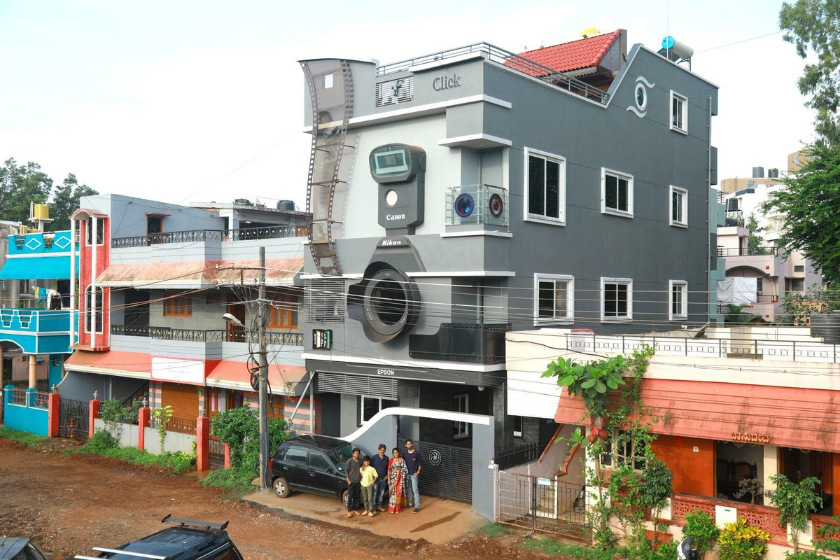How far your passion can take you? Ravi Hongal is a photographer from Belagavi in Karnataka. He's built his home in the shape of a camera and named it 'Click'  Not just that. He has named his three sons, Nikon, Canon and Epson! <br>http://pic.twitter.com/lUutcXuusU