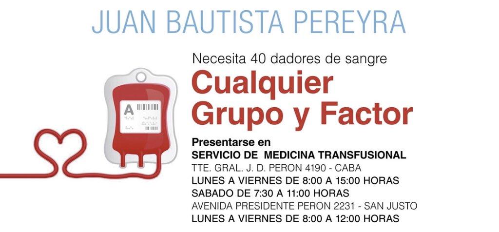 El hijo de una compañera del trabajo  de mi mamá esta internado en Buenos Aires y necesita 40 donantes. Le trasplantaron el hígado y ahora está teniendo problemas renales. Se agradece la difusión 🙏 https://t.co/96y9OQuPjy