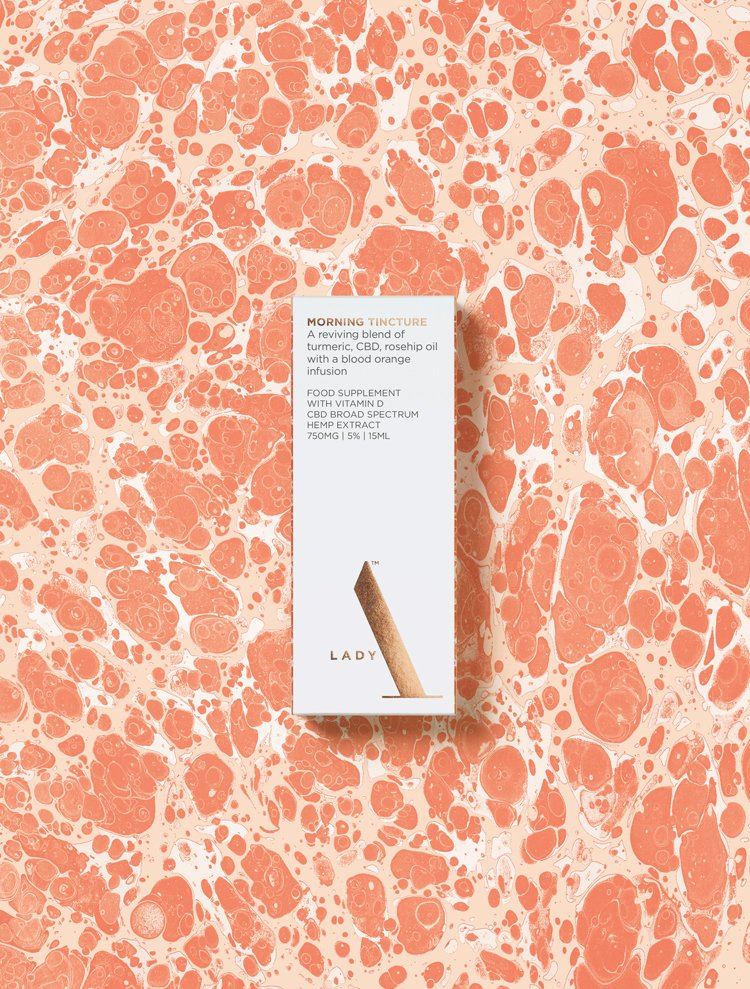 The identity for this CBD company - from Michael Wolff and NB Studio - aims for luxury with its marbled look: http://bit.ly/2Onbops pic.twitter.com/3wbEnbjK2H