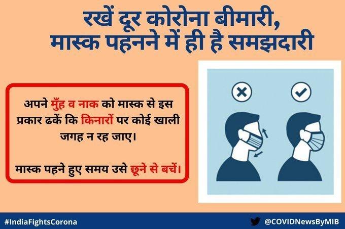 #IndiaFightsCorona:   रखें दूर #कोरोना बीमारी, मास्क पहनने में ही है समझदारी।    अपने मुंह व नाक को मास्क से इस प्रकार ढकें कि किनारों पर कोई खाली जगह न रह जाए।  #WearAMask #StaySafeStayHealthy #IndiaWillWin  @COVIDNewsByMIB @BOC_MIB @MIB_Hindi @MIB_India @PIB_India @PIBHindipic.twitter.com/IfI0hGBkhH