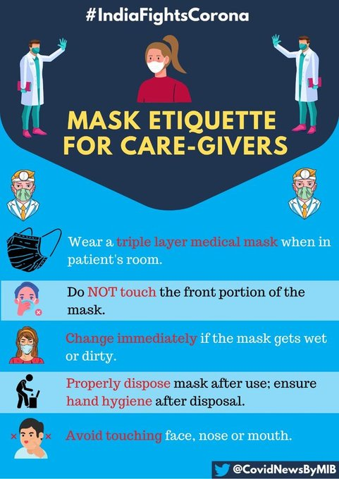 #IndiaFightsCorona:   Mask etiquette for Care-Givers  Wear a triple layer medical mask when in patient's room Do not touch the front portion of the mask Change immediately (if the mask gets wet or dirty) Properly dispose mask after use   #StaySafe #IndiaWillWinpic.twitter.com/GUzzPc3b4Y