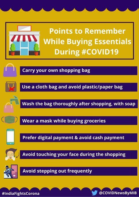 #IndiaFightsCorona:  Points to remember while buying essentials during #COVID19   Carry your own shopping bag Use a cloth bag and avoid plastic/ paper bag Wash the bag thoroughly after shopping, with soap  #StaySafe #IndiaWillWin  @fssaiindiapic.twitter.com/sxWFhPbFmZ