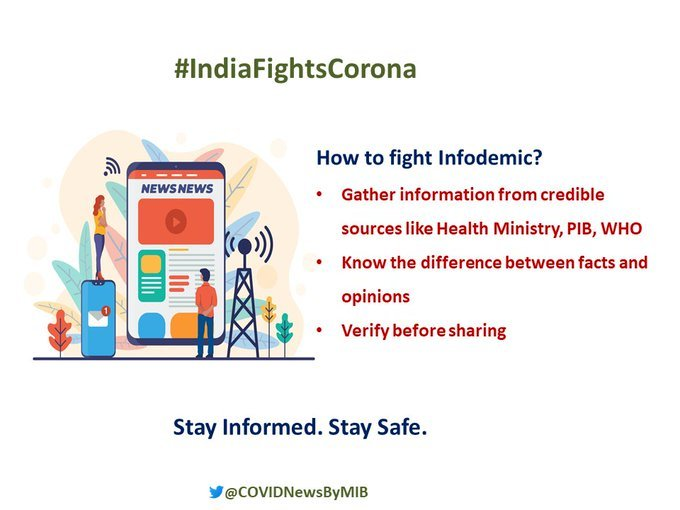 #IndiaFightsCorona:  How to flight infodemic Gather information from credible sources like  @MoHFW_INDIA, @PIB_India, @WHO   Know the difference between facts and opinions  Verify before sharing  #StaySafe #IndiaWillWinpic.twitter.com/dRhmuEludY