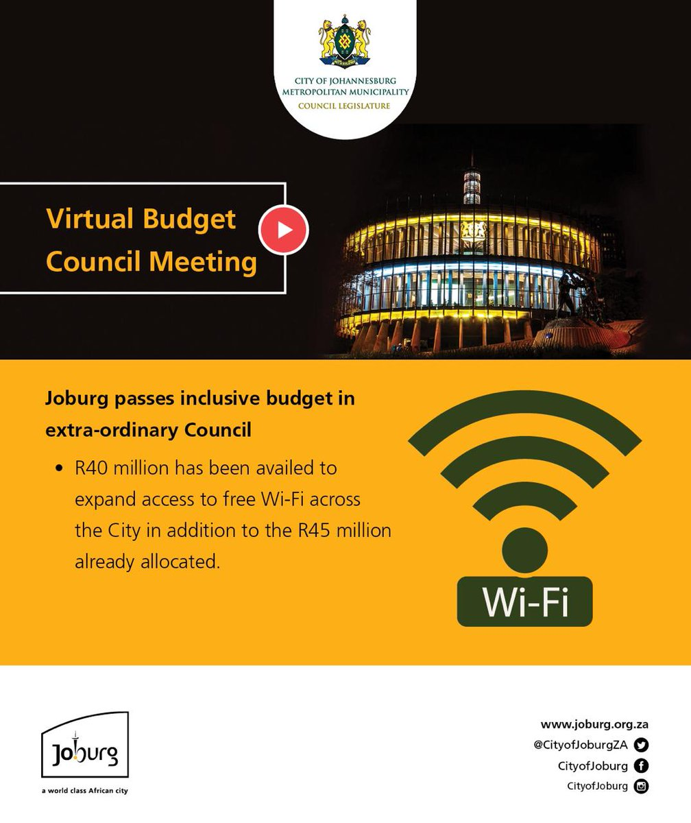 #JoburgBudget20 R40 million has been availed to expand access to #JoburgWifi for free across the City. #JoburgServices ^PS https://t.co/ugsBfujjXC