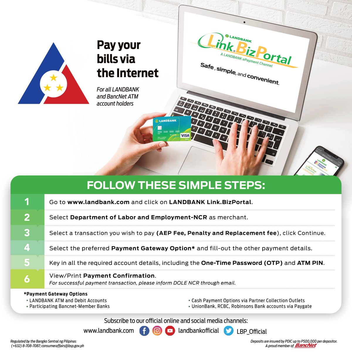 Enjoy a safer way to pay your bills online with the LANDBANK LinkBiz.Portal! Settle your fees and online clearances to the Department of Labor and Employment (DOLE) by visiting https://t.co/LVLdrKmzQn and following these six easy steps.  #BankingOnTheFIlipinoSpirit https://t.co/EoKLeaWnjb