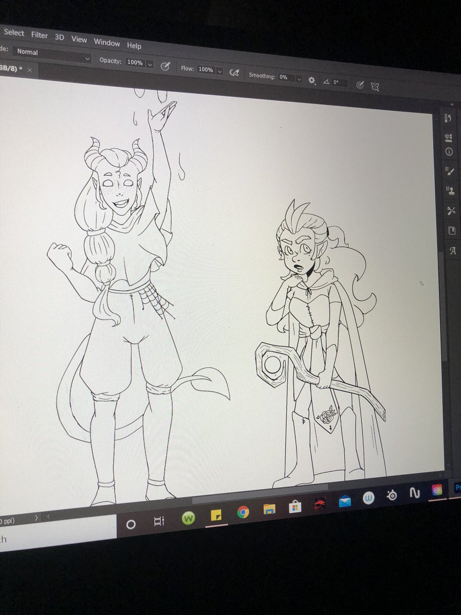 Wip of my childern, Neried the costal Druid and Faefi the forest Druid. (Faefi is a gnome, neried is just super short for being a teifling lol) okay!! Goodnight everyone! pic.twitter.com/JqYVZHn6Dj