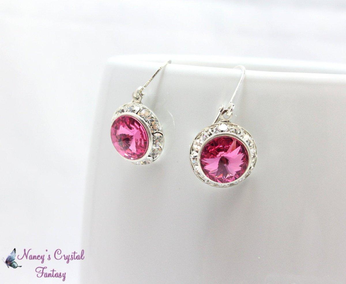 Rose Pink Swarovski Crystal Earrings, Pink Crystals , Swarovski Rivoli Crystals, Bridesmaid Jewelry, October Birthstone, Prom https://etsy.me/2T19X3O #jetteam #etsymntt #emnttMpic.twitter.com/42LNFSIVdX