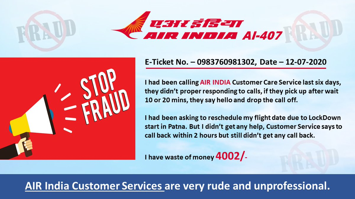 @AirIndia_assist @AirIndia_assist @aajtak @ABPNews @MoCA_GoI @tourismgoi @PMOIndia @sudhirchaudhary @SwetaSinghAT  AIR INDIA' service are very poor and cheap. I have lost my 4002/- due to Customers Service not support of travellers.  STOP FRAUD With customers otherwise shutdown. pic.twitter.com/lWanqcnllY