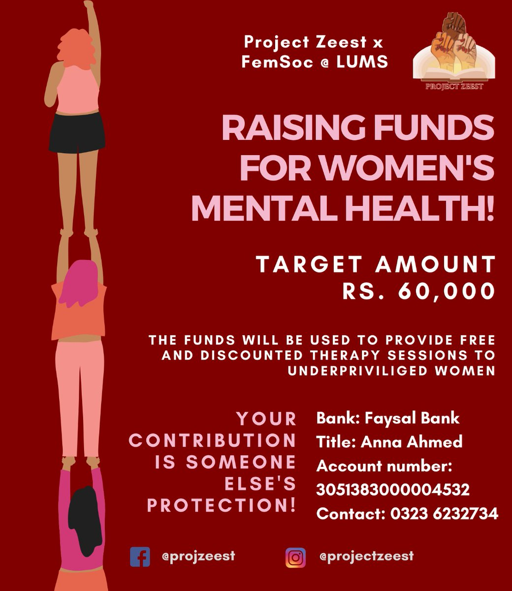 *Please retweet/share* We are aiming to provide free and discounted therapy to women in need all over Pakistan. We are nowhere near our target rn. Please circulate this poster amongst your family and friends too! You can inbox us for any queries.