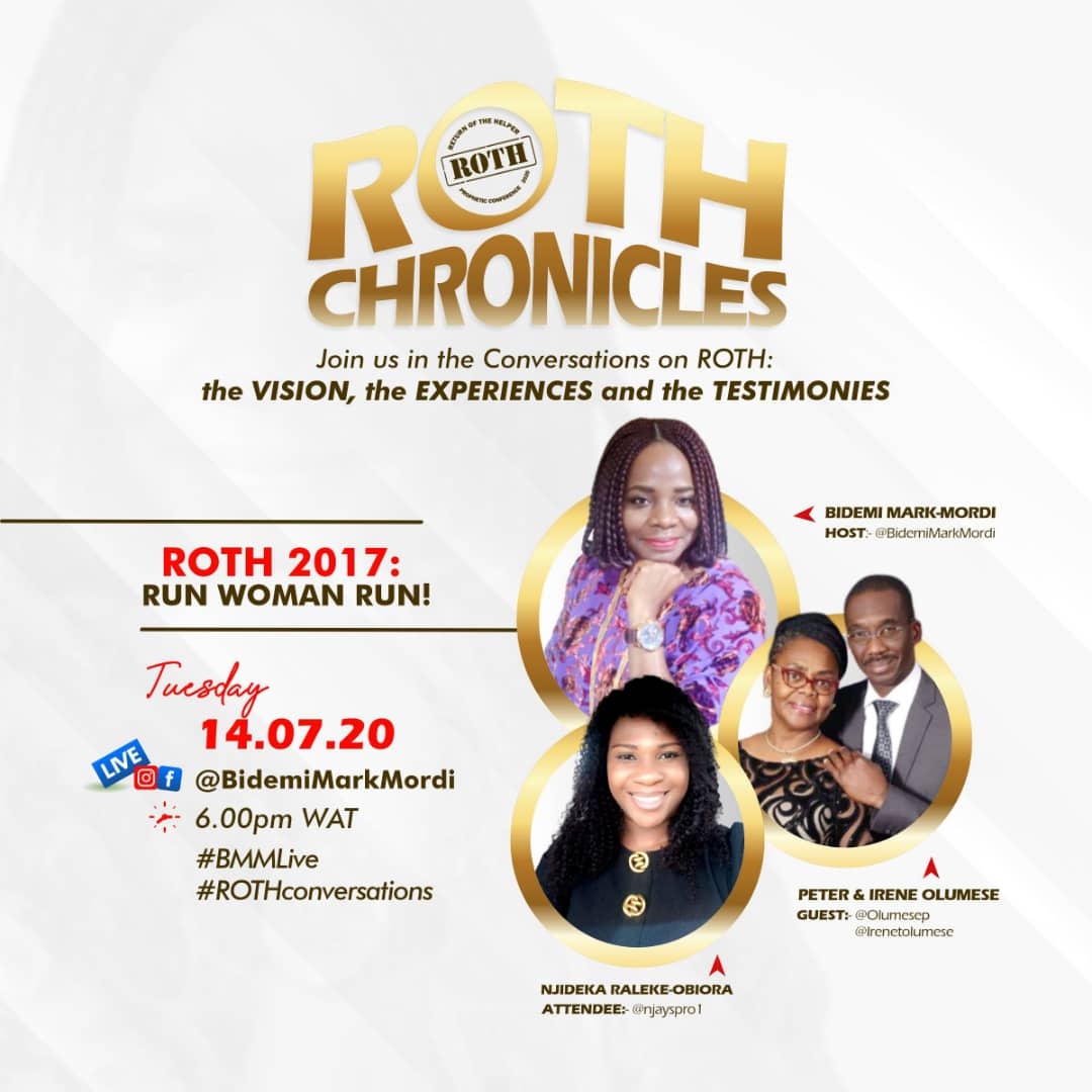 Today on ROTH Chronicles we'll be having the dynamic couple; the Olumese's as speakers and as attendee @njayspro1. join us!  #ROTH2020 #RothChronicles #Patterns #excellence #kingdom #restoration #ChristianLiving #Godsplan #globalConference  #rothconference2020pic.twitter.com/0rRIqV7mEr