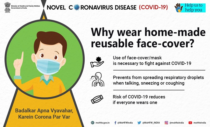 #IndiaFightsCorona  Home-made reusable face-cover/mask is the best bet to stay protected from #COVID19.   #BadalkarApnaVyavaharKareinCoronaParVaar #HealthForAll #SwasthaBharat #CoronaOutbreak #Unlock2 #TogetherAgainstCovid19 https://t.co/vdaTF14Q2Q