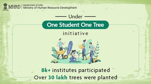 To augment the efforts of Jal Shakti Abhiyan, last year MHRD started #OneStudentOneTree initiative. We are happy to share that more than 30 lakh trees have been planted by students of 8,789 HEIs across India. Students, you make us proud! https://t.co/ytBCxvBMLk