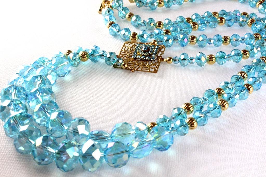 Aqua Crystal Art Deco Style Necklace, Long Necklace https://etsy.me/2sz9ndQ #jetteam #etsymntt #emnttMpic.twitter.com/gZx53EipQQ