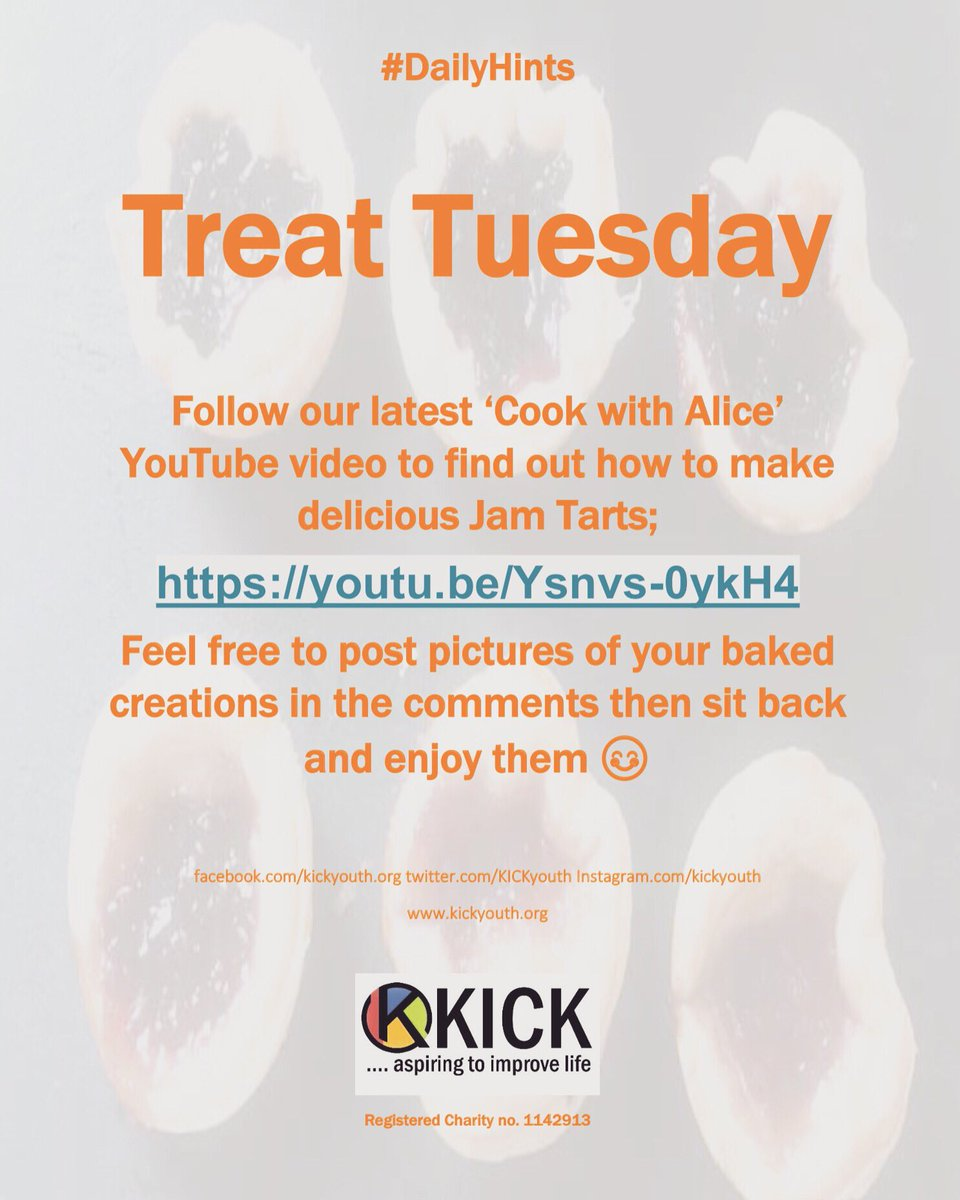 #KICK #improvinglife #youthwork #youth #charity #youthworkmatters #Cambridgeshire #Huntingdonshire #covid19 #dailyhints #treattuesday #treatyourself #cookwithalice #positiveactivities #jamtartspic.twitter.com/FOiqp1q3hN