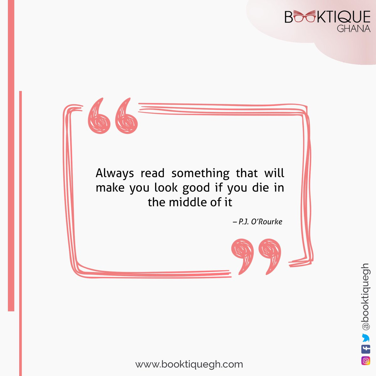 Always read something that will make you look good if you die in the middle of it #bookquotes #bookstagram #ghanabookstore #booktiquegh #readingcommunity<br>http://pic.twitter.com/x6ikORXx1O